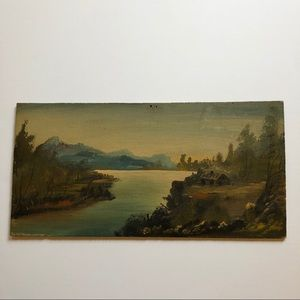 VTG Rustic Cabin Mountain Water Painting Estate